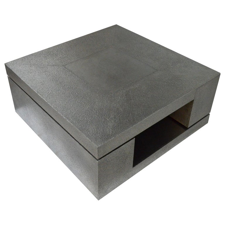 LX2 Table in Antiqued White Metal For Sale