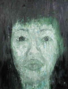 'Wife Portrait' Oil on Canvas Painting Green Blue Grey Black