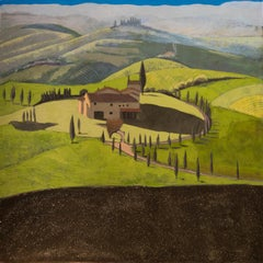 House In Tuscany Original Oil paint on canvas Signed on reverse major collectors