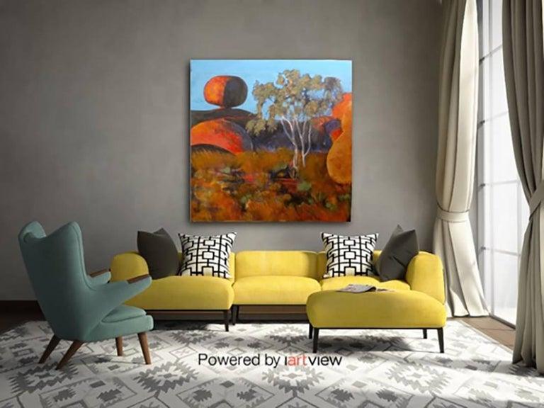 Devil's Marbels, Landscape, Contemporary, Original, Plaster, Personally Signed. For Sale 2