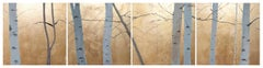 Golden Birches Frieze, Landscape, Goldleaf, Original, Exemplary Art Reviews
