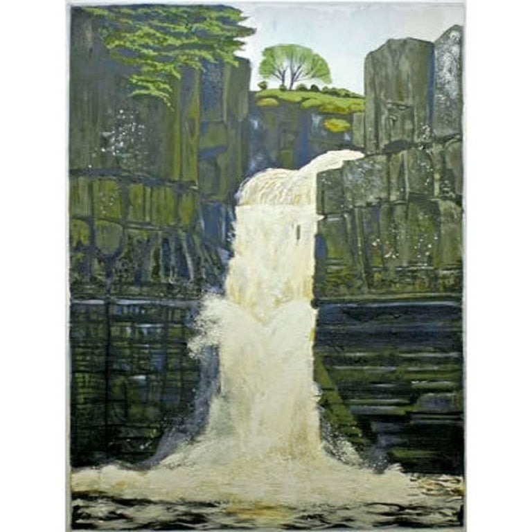 High Force ( County Durham ) Original, Oil on Canvas, Exemplary Art Reviews - Painting by Lydia Bauman