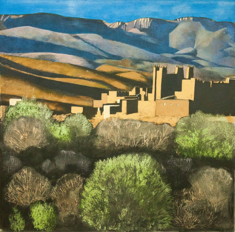 Kasbah in Morocco, Original, Impressionist Style, Excellent Art Reviews, Signed For Sale 3