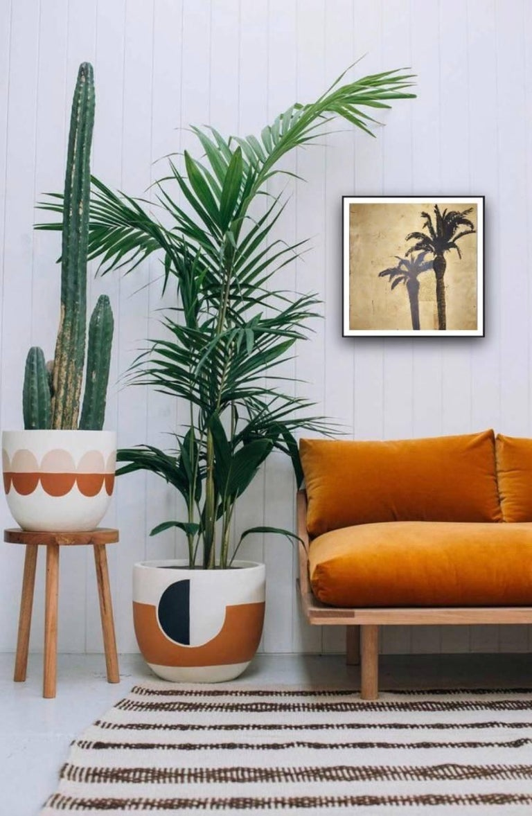 Palmtree with Shadow, Original, Oil, Landscape, Gold Leaf, Art Reviews signed  - Painting by Lydia Bauman
