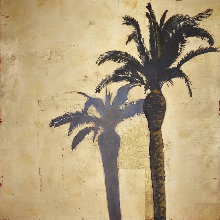Lydia Bauman Landscape Painting - Palmtree with Shadow, Original, Oil, Landscape, Gold Leaf, Art Reviews signed
