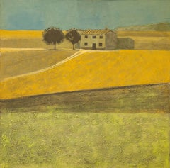 Yellow Field, Spain, Original, Impressionist Style, Brilliant Art ReviewsSigned