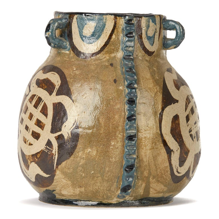 Mid-Century Modern Lydia Corbett Studio Art Pottery Three Handled Vase 20th C For Sale