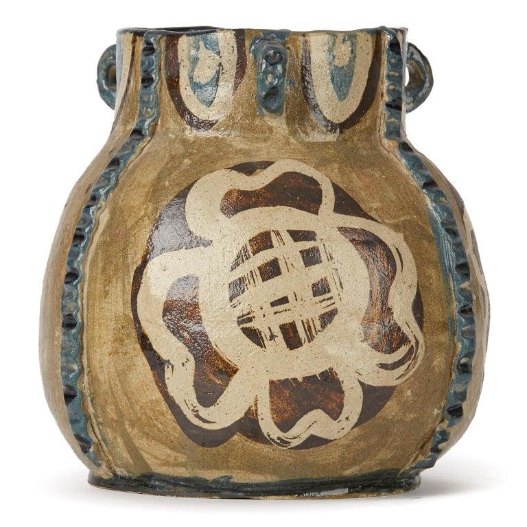 Lydia Corbett Studio Art Pottery Three Handled Vase 20th C For Sale 2