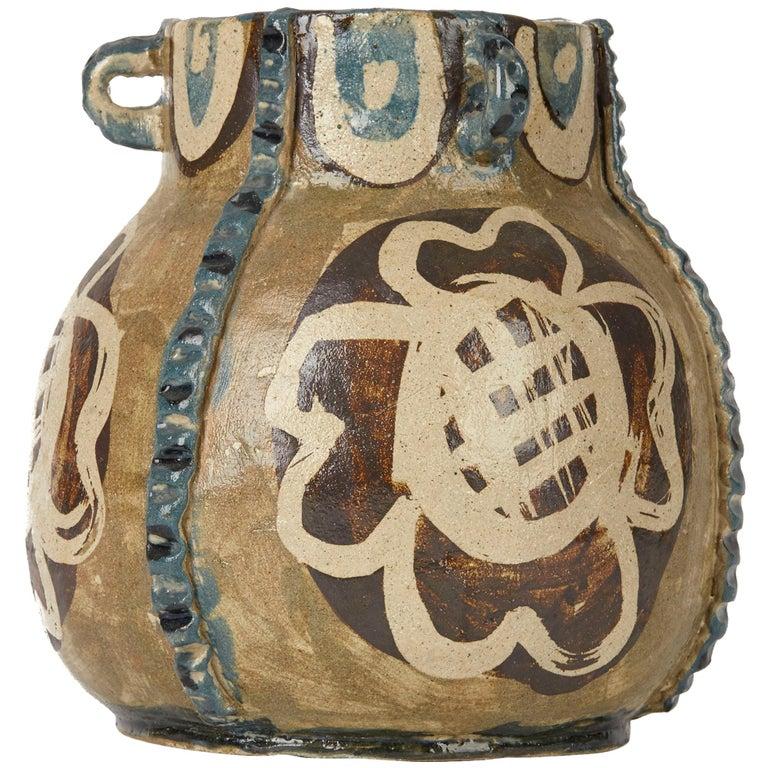Lydia Corbett Studio Art Pottery Three Handled Vase 20th C For Sale