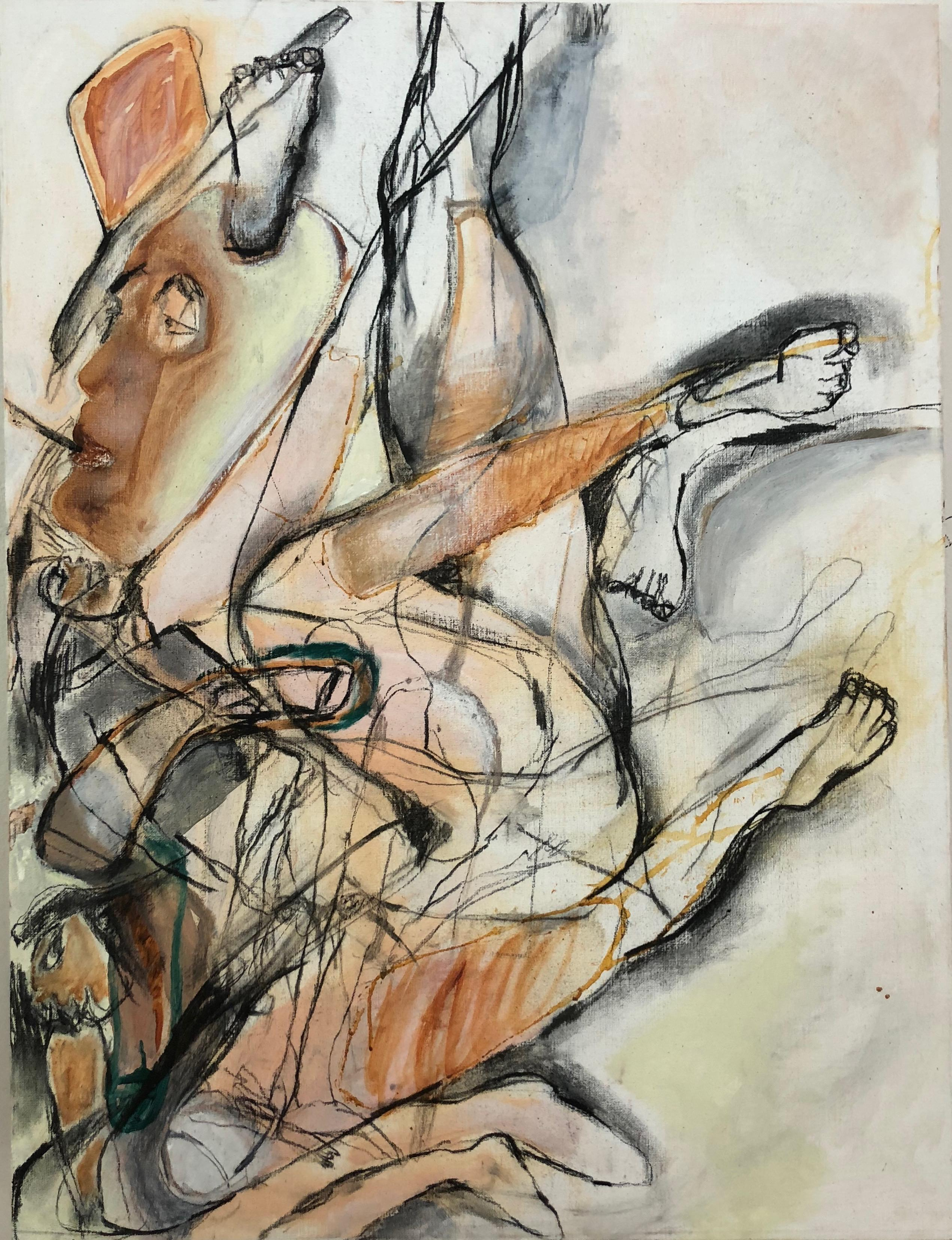 Spotlight One, abstracted figures, mixed media earth tones