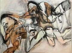Spotlight Three, abstracted figures, mixed media earth tones