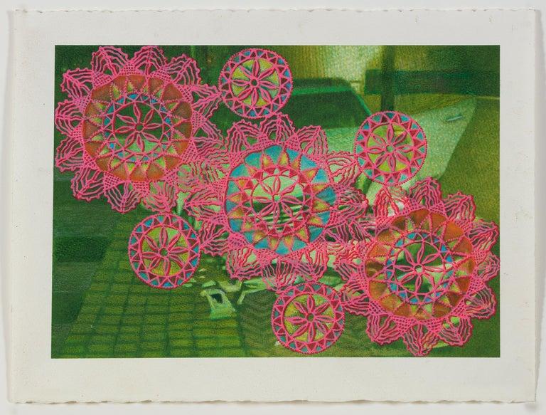 Lydia Viscardi, Coverup Orange on Blue_2018_Altered digital print  - Other Art Style Painting by Lydia Viscardi