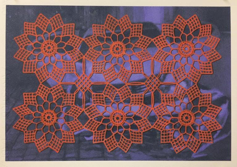 Lydia Viscardi, Coverup Orange on Blue_2018_Altered digital print  - Painting by Lydia Viscardi