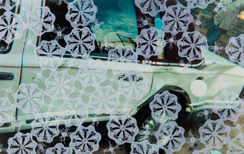 Lydia Viscardi, Veil_2017_found digital photograph, enamel paint, oil pastel