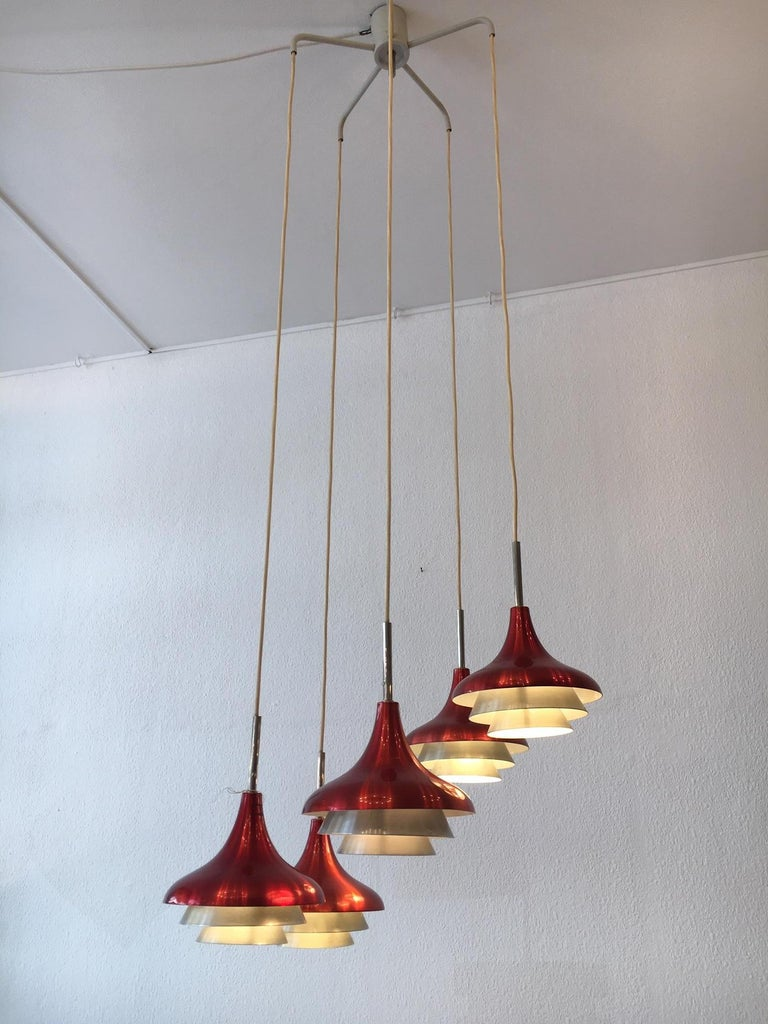 Aluminum and steel pendant lamp by Lyfa Denmark circa 1960s 5 lights, heights of each shade can be adjustable Good vintage condition Electrification ok for US.