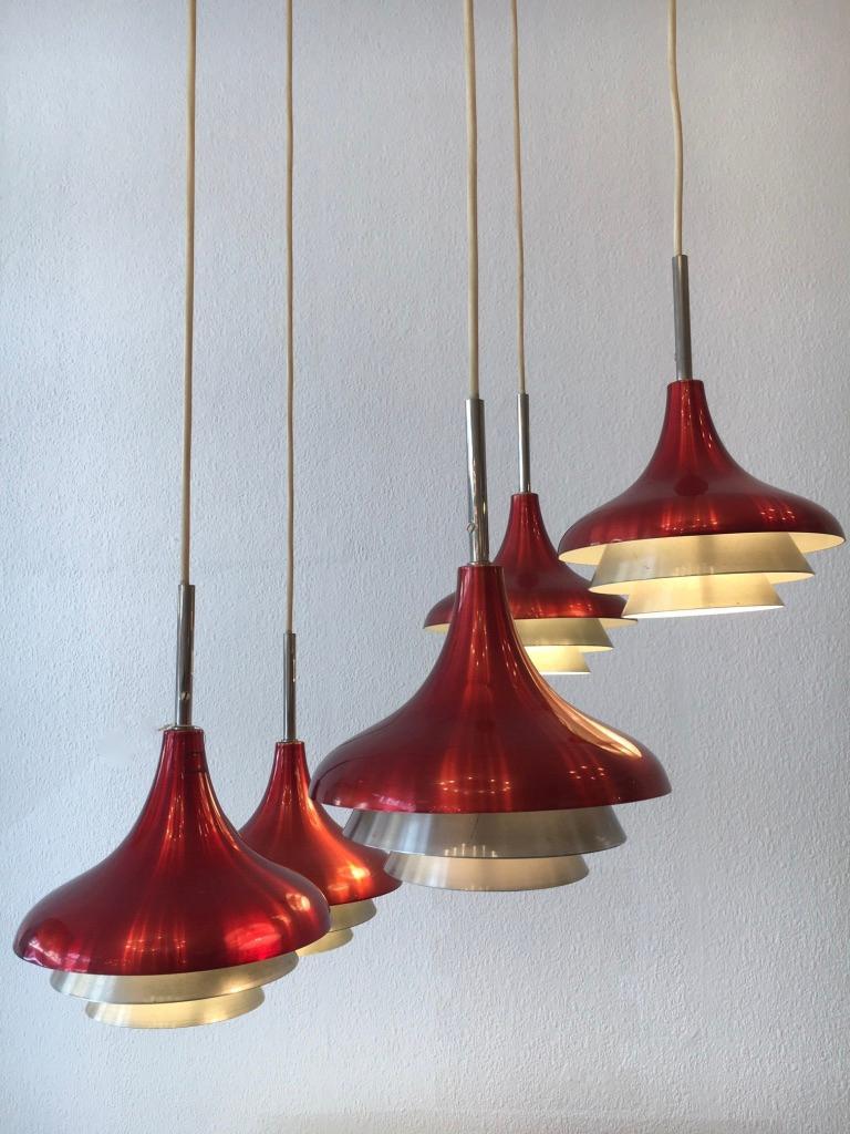Lyfa Aluminum Pendant Lamp Denmark, circa 1960s For Sale 2