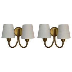 Lyfa, Pair of Two-Armed Wall Sconces, Brass, Linen, Denmark, 1950s