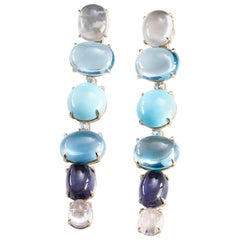 Lygia Demades Blue Topaz Turquoise Tourmaline and Rose Cut Diamond Gold Earrings