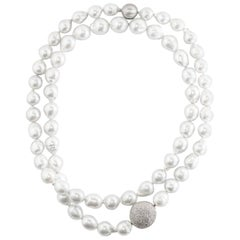Lygia Demades South Sea Pearl and Diamond Long Sautoir Necklace