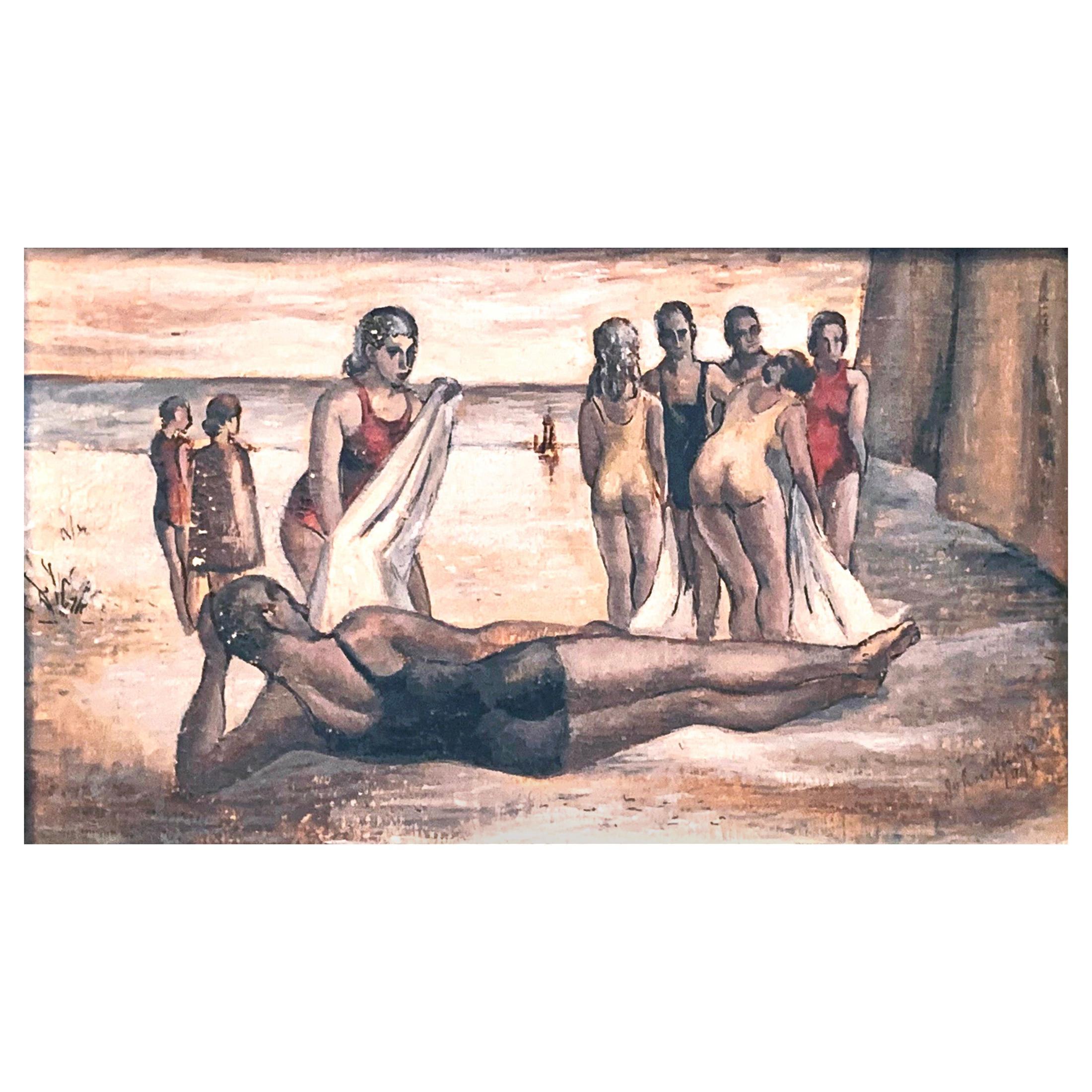 """Lying on the Sand,"" WPA-Era Atmospheric Beach Scene with Male & Female Bathers"