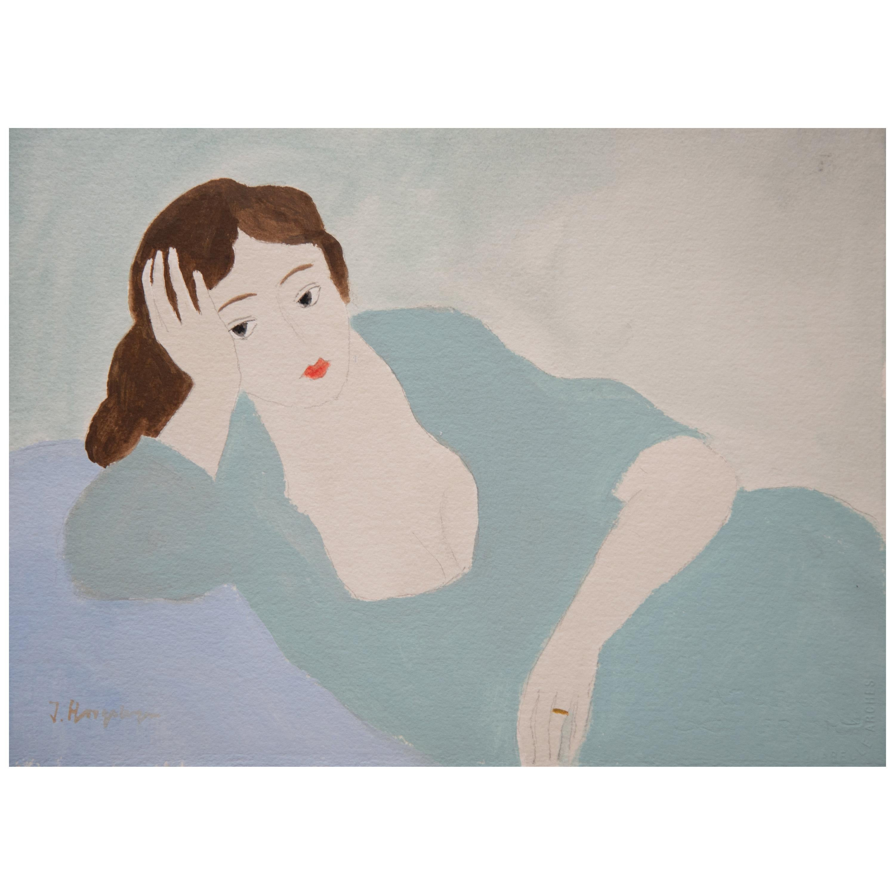 Lying Woman Unframed Drawing in Acrylic 100% Cotton Paper Intimist Modern