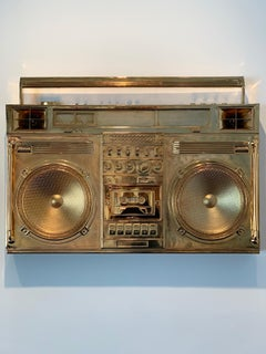 Gold Boombox Sculpture