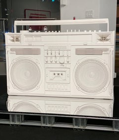 White Boombox Sculpture