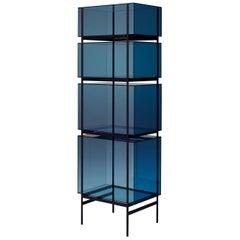 Lyn Cabinet, European, Minimalist, Blue, Black Base, German, Cabinet
