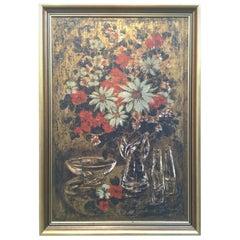 Lyn Howley Serigraph Les Fleur No. 3 Print Signed 1950s