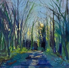 Lynda Minter, A Pathway Winter Evening, Original Landscape Painting