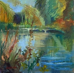 Lynda Minter, The Pond Turning to Autumn, Original Landscape Painting
