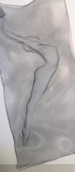Reach I: Sculpted Metal Mesh Figure of Dancer by Lyndsey Keeling