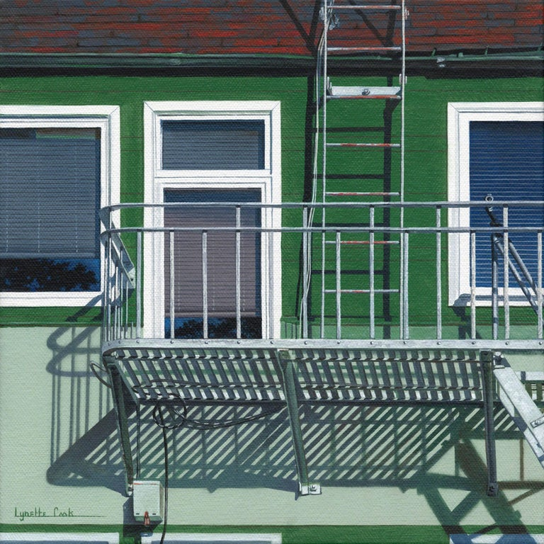 Lynette Cook Landscape Painting - Up to the Roof / framed contemporary photorealist architecture painting