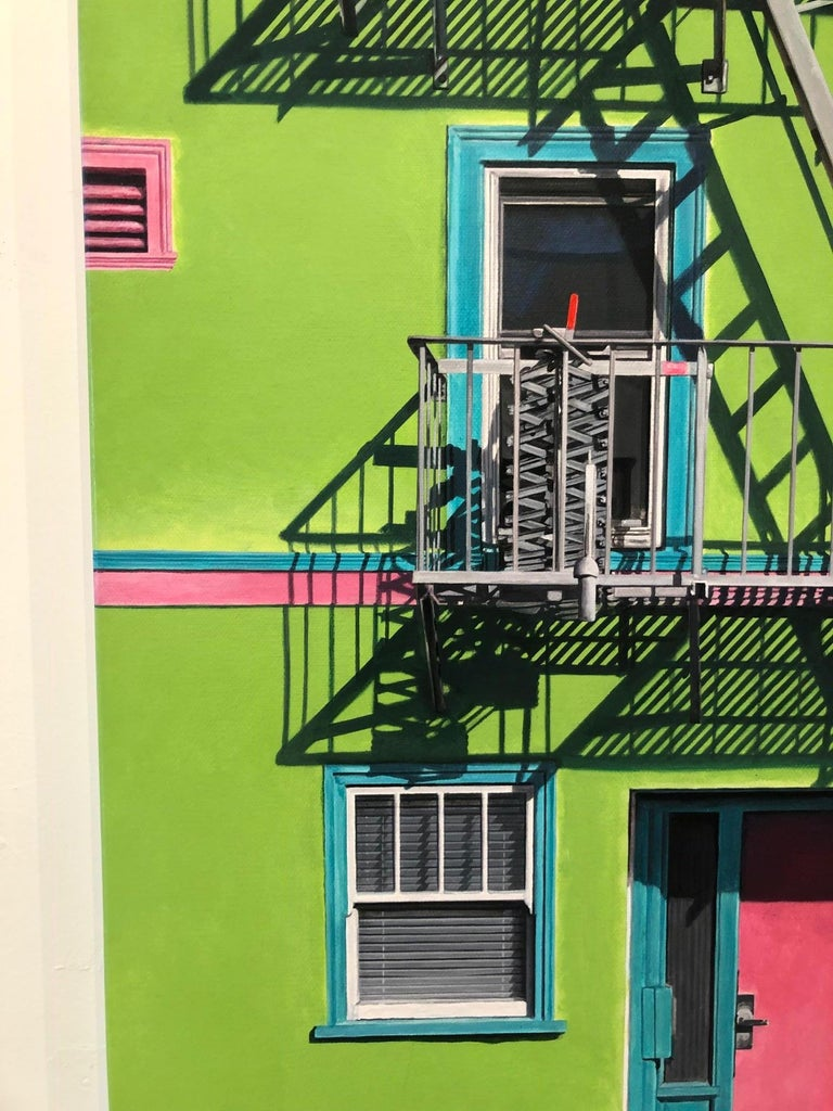 'Wild Child' depicts a San Francisco home, painted brightly to reflect the free spirited city that is bathed in warm west coast sunlight with shadows cascading across the facade of the building, which is the artist's focus in her Shadows and
