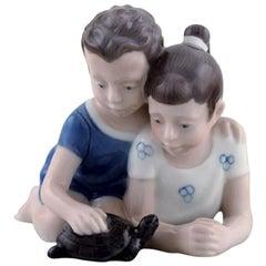 Lyngby Porcelæn, Denmark, Figure in Porcelain, Siblings with Turtle, 1940s