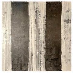 """Lynn Basa Encaustic Black and White Stripe Panel """"Camino"""", 2018"""