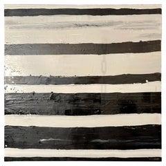 "Lynn Basa Encaustic Black and White Stripe Panel ""Doppleganger"" 2013"