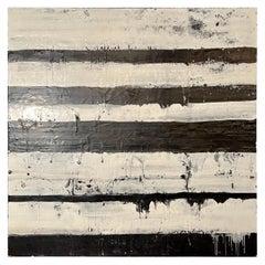 "Lynn Basa Encaustic Black and White Stripe Panel ""Mostly White"" 2012"
