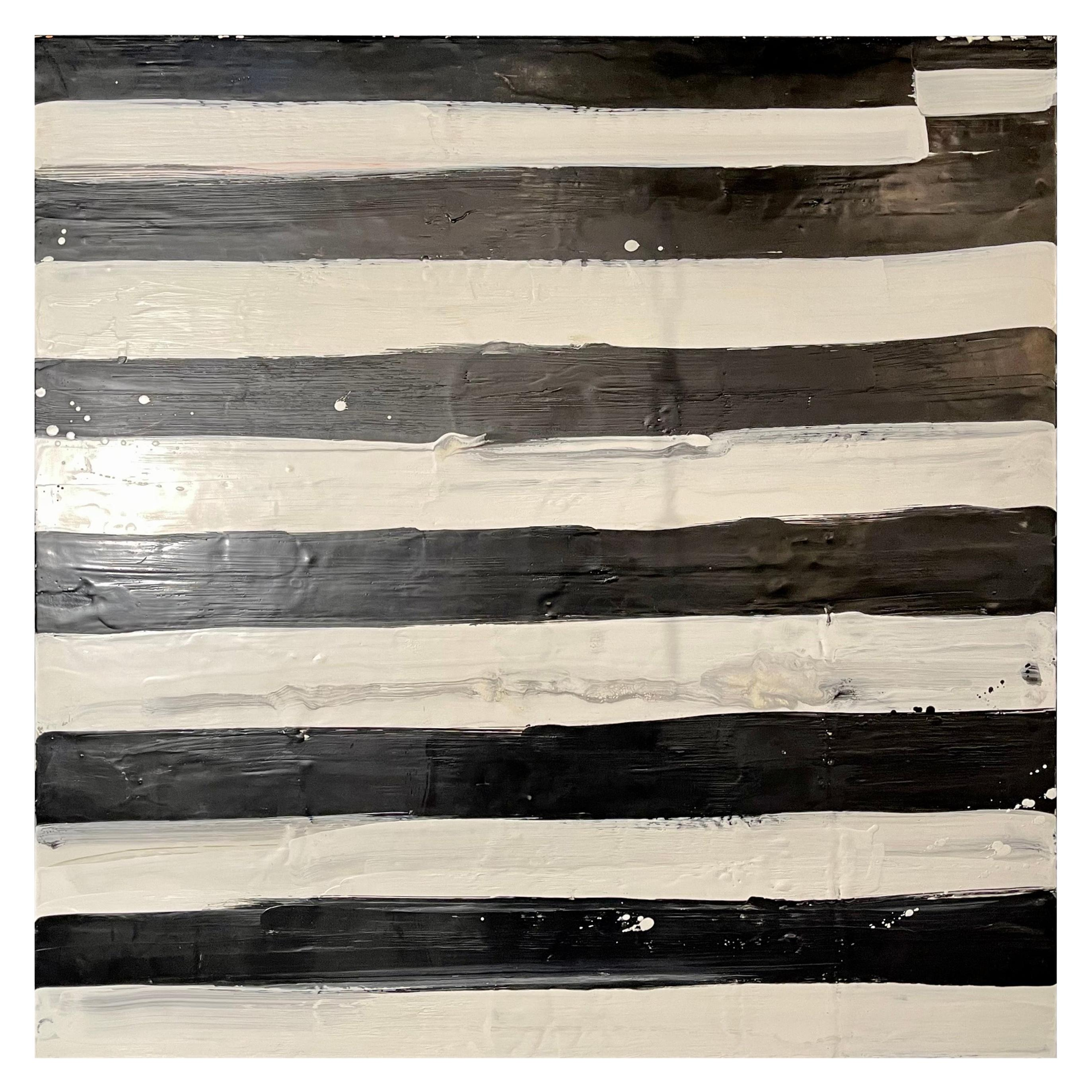 "Lynn Basa Encaustic Black and White Stripe Panel ""Not So Simple"", 2012"