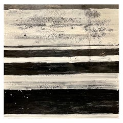 "Lynn Basa Encaustic Black and White Stripe Panel ""The Speckled"", 2013"