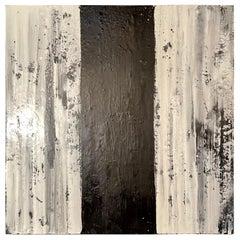 "Lynn Basa Encaustic Black and White Stripe Panel ""Three Ways of Looking Black"""