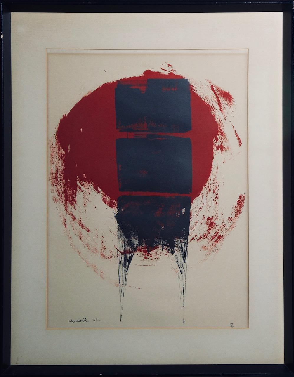 Composition of Red and Black-Limited Edition Print, Signed and Dated by Artist.