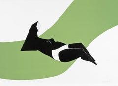 Reclining Figure on Green Wave - 20th Century, Print by Lynn Chadwick