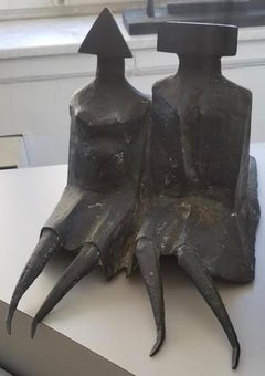 Lynn Chadwick, Sitting Couple In Robes II, Bronze and Black Patina