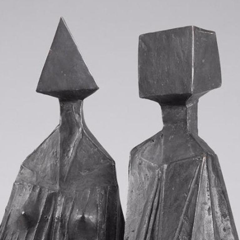Pair of Sitting Figures I - Modern Sculpture by Lynn Chadwick