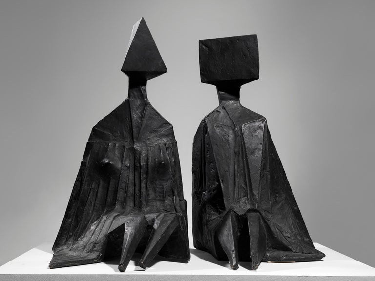 Lynn Chadwick Figurative Sculpture - Pair of Sitting Figures I