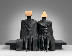Sitting Couple in Robes I - 20th Century, Bronze, Sculpture by Lynn Chadwick