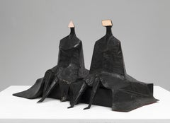 Sitting Figures in Robes I - 20th Century, Bronze, Sculptureby Lynn Chadwick