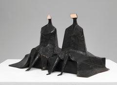 Sitting Figures in Robes I - 20th Century, Bronze, Sculptureby Lynn Chadwick