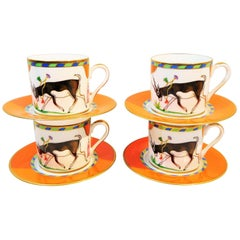 """Lynn Chase """"Tiger Raj"""" Porcelain Demitasse Cups and Saucers with 24k Gold Trim"""